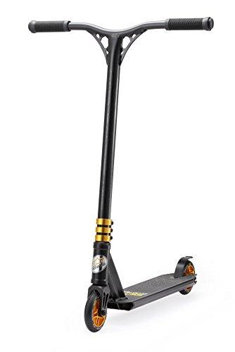 STAR SCOOTER Pro Sport Freestyle Stunt Scooter Kickscooter Roller für Kinder ab 7 Jahre und Erwachsene 110mm Semi Professional Stuntscooter Alu HIC Kompression Schwarz & Gold