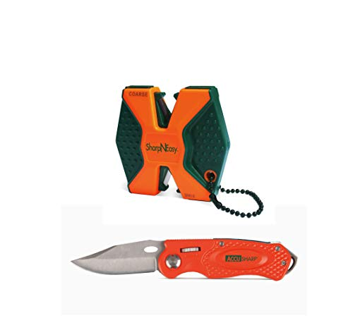 AccuSharp SharpNEasy 2-Step Knife Sharpener & Sport Folding Knife Combo -Orange (045C), Hunting, Fishing, Outdoors, Hiking and Camping Knife & Sharpening Gift Set