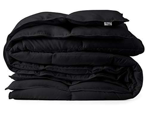 Black Down Alternative Comforter Duvet Insert - Corner Tabs, Double Stitches, Piped Edges, Siliconized Fiber, Protects Against Dust Mites, Hypoallergenic, Allergy Free - Oversized Queen 92' x 96'