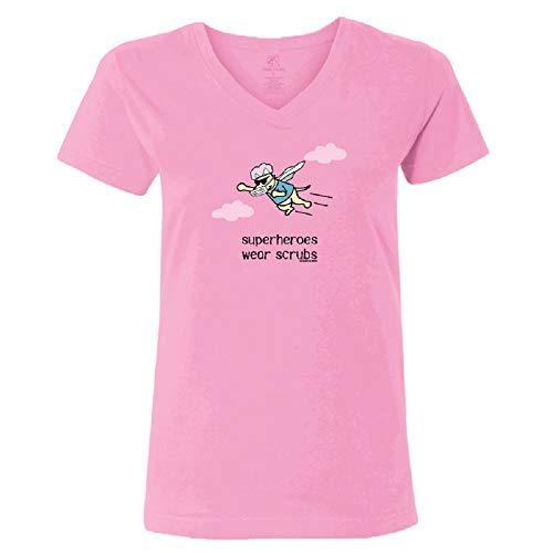 Teddy the Dog Superheroes Wear Scrubs - Ladies T-Shirt V-Neck Shirt Coronavirus Inspired Light Pink XL X-Large