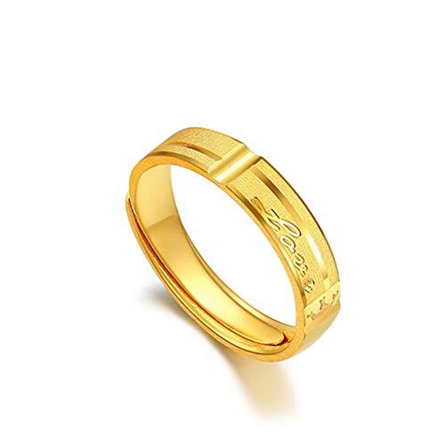 DXGD@ Anillo de Eternidad de Oro Amarillo de 24 k Parejas Anillos de Compromiso de Boda,4mm
