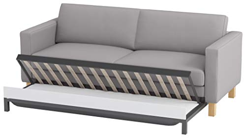 HomeTown Market Durable Cotton Sofa Cover Only! Sofa is Not Included! IKEA Karlstad 3 Seater Sofa Bed Cover Replacement, Karlstad Sleeper Slipcover. (Lighter Gray Cotton)