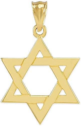 Collar con colgante de estrella de David judía tradicional de oro amarillo sólido de 14 k (mediano)