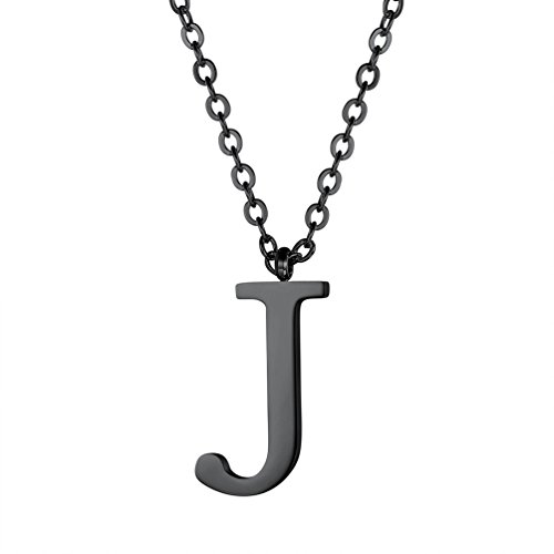 PROSTEEL Initial Letter J Necklace Alphabet Name Jewelry Men Women Personalized Birthday Gift Minimalist Black Letter Pendant Chain Women's Men's Necklaces