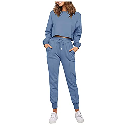 Briskorry Damen Einfarbig Sweatsuit Set 2-teilig Langarm Pullover und Kordelzug Jogginghose Sport Outfits Sets für Homeshopping-Arbeit