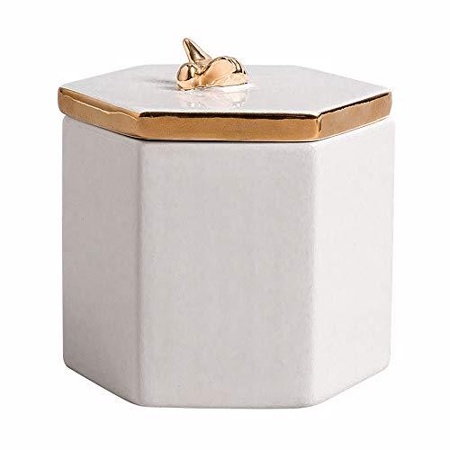 MLQ Joyero Hexagonal de Bee de Calidad, decoración de Escritorio de Estilo de joyería de cerámica de Estilo nórdico, Adecuado para Sala de Estar, Oficina, cafetería, Blanco, 10.5 * 9.1 * 10.3cm