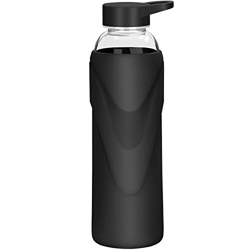 Justfwater Deporte Botella de Agua de Cristal con Funda de Silicona 1000 ML