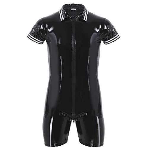 iEFiEL Männerbody Herren Body Lack Leder Catsuit PVC Overall Clubwear Kurzarm Unterhemd Wetlook Bodysuit Erotik Wäsche (Large, Schwarz)
