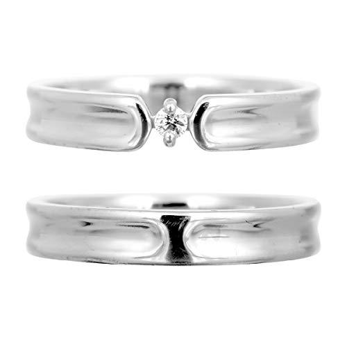 [ココカル]cococaru ペアリング シルバー リング2本セット ダイヤモンド マリッジリング 結婚指輪 日本製(レディースサイズ8号 メンズサイズ13号)