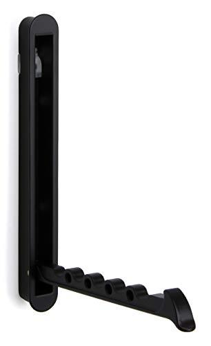Moderner Wandpaneel-Kleiderhaken auf-klappbar Garderobenhaken schwarz Klapphaken - MITAL | 140 x 16/128 mm | Wandhaken zum zum Einlassen & Schrauben | 1 Stück -Garderoben-Bügelhalter versenkbar