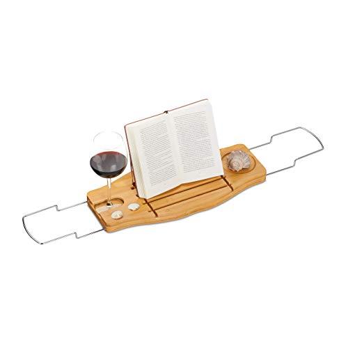 Relaxdays Bambus Badewannenablage, ausziehbar, klappbare Buchstütze und Glashalter, Bad Caddy, 72-106 cm, natur