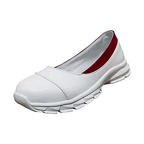 URIBAKY - Zapatillas de running para mujer, con punta cerrada, zapatillas de deporte, running en carretera, al aire libre, correr, fitness, transpirables, zapatillas de deporte, Blanco (blanco), 40 EU