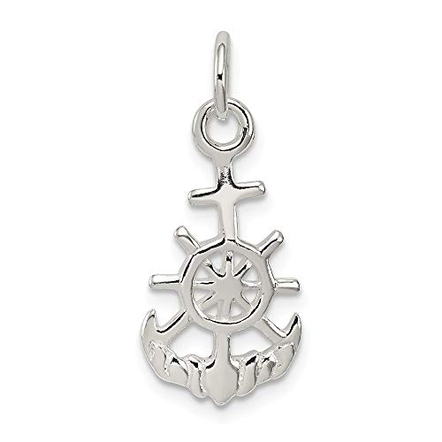 925 Sterling Silver Nautical Pendant Charm Necklace Religious Cross Mariner Fine Jewelry For Women Mothers Day Gifts For Her