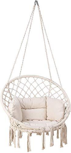 Femor Hängesessel mit Großes gepolstertes Kissen,Ø Sitzfläche: ca. 60 cm,max. 100 kg belastbar,für drinnen und draußen geeignet - Beige(Starke Stahlkonstruktion)