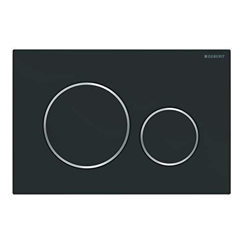 Geberit Betätigungsplatte Sigma 20 (für 2-Mengen Spülungen, Betätigung von vorne, Platte + Tasten schwarz matt, Streifen chrom) 115882141