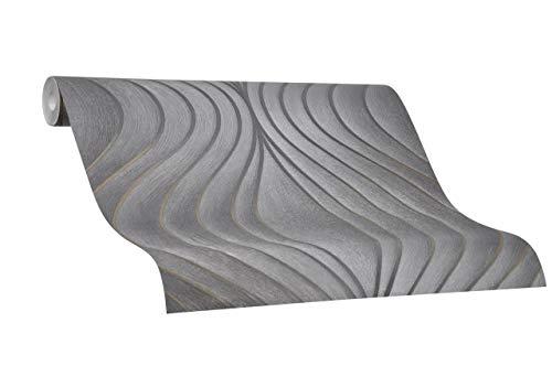 Tapete Schwarz Grafisch Symmetrisch Geschwungen Linien Ovale Colani Evolution für Wohnzimmer Schlafzimmer oder Küche Made in Germany 10,05m X 0,70m Premium Vliestapete 56323