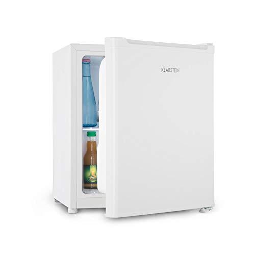 Klarstein Snoopy ECO - Minifrigo con Congelatore, Mini Frigorifero, Capacità 46L, Congelatore 4 L, Rumorosità 41 dB, Classe Energetica E, Bianco