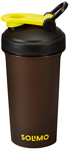 Amazon Brand - Solimo Shaker Bottle 700 ml (Flip Handle lid), Brown Body, Yellow Lid