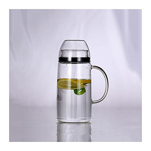 Jarra de Agua Cristal Jarra de vidrio de gran capacidad con mango y tapa de la jarra a prueba de polvo sellada con anillo de sellado de silicona para leche, jugo, bebidas caseras Jarras de Vidrio