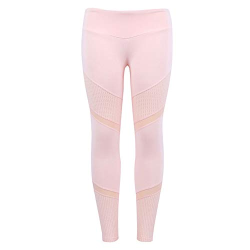 LFEU Mujeres Elastic Splice Sport Leggings Fitness Yoga Pant Leggings Gimnasio Mallas para Correr Ropa Deportiva Pantalones Rosas