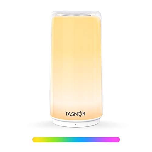 TASMOR Lampada da Comodino Lampada da Tavolo Controllo Touch, 4 Modi di Illuminazione Luce Bianca Calda Dimmerabile e Colori Cangianti RGB Luce Notturna Bambini, per Camera da Letto Soggiorno Uffcio