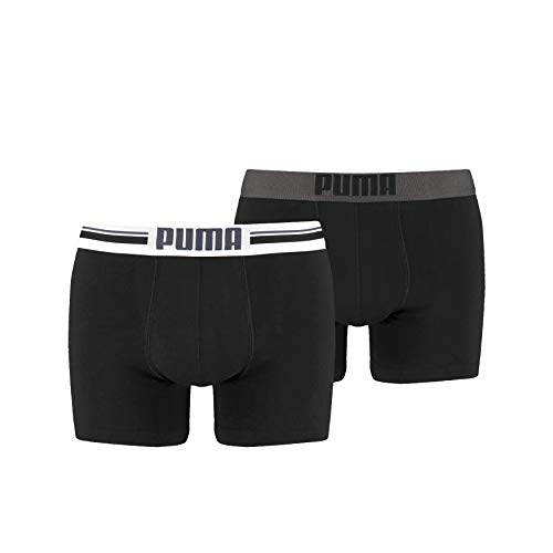 Puma - Placed Logo Boxer 2P - Homme - Noir - Small - Lot de...