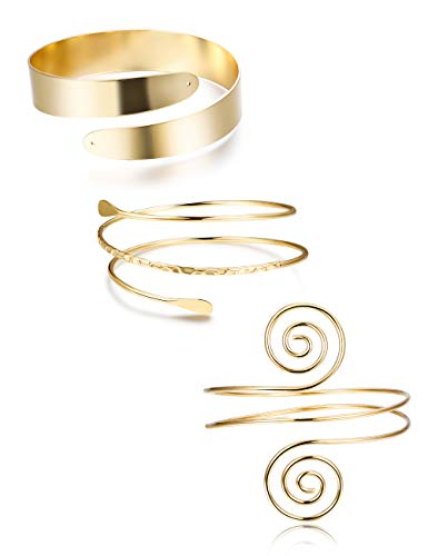 Finrezio 3Pcs Upper Arm Bracelet Cuff Bangle Bracelet Open Armlet Swirl Leaf Armband Jewelry Set