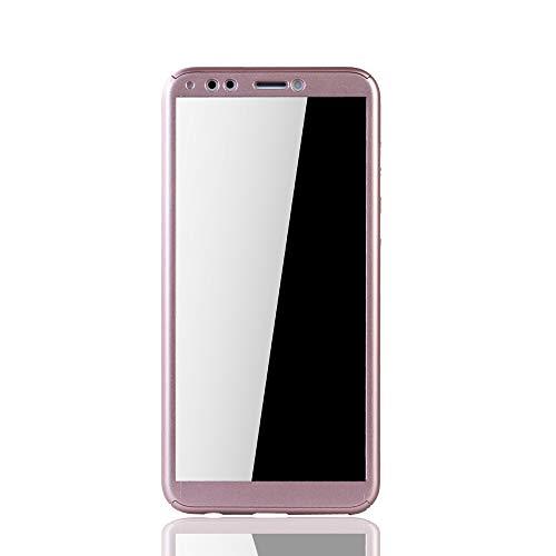 König Design Schutz-Case geeignet für Huawei Honor 7C Hülle mit Panzerglas | Sturzsichere Full Cover Handyhülle in Rose - 3