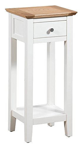Hallowood Clifton Wooden 1 Drawer Small Compact Console/Hall/Side/End/Plant/Telephone/Flower/Bedside Stand Cream Nightstand, White Painted Body with Light Oak Top, CLF-CON350