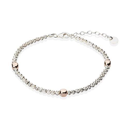Bracciale con Pepite Diamantate e Dadini Oro Rosa | Unisex | Stile Dodo | Oro Bianco | in Argento 925 Anallergico