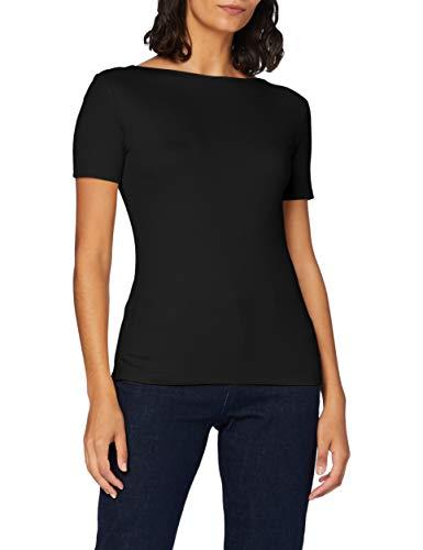 Amazon-Marke: MERAKI Damen T-Shirt mit U-Boot-Ausschnitt, Schwarz (Black), 44, Label: XXL
