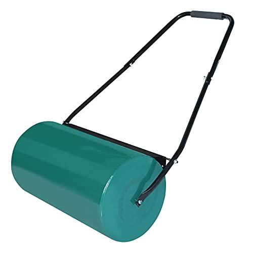 NAIZY Handwalze Gartenwalze, Rasenwalze Befüllbar mit 57cm Walzenbreite, 32 cm Durchmesser, 46L Füllvolumen Metall Rasenroller Gartenfräse Rasenlüfter, Grün