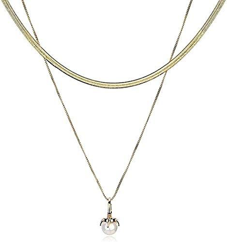 LBBYMX Co.,ltd Collar Colgante Anillo de Plata Imitación de Perlas Cadena Simple Clavícula Doble Cadena Corta Joyería de Hueso de Serpiente para Enviar Regalos a la Novia Collar
