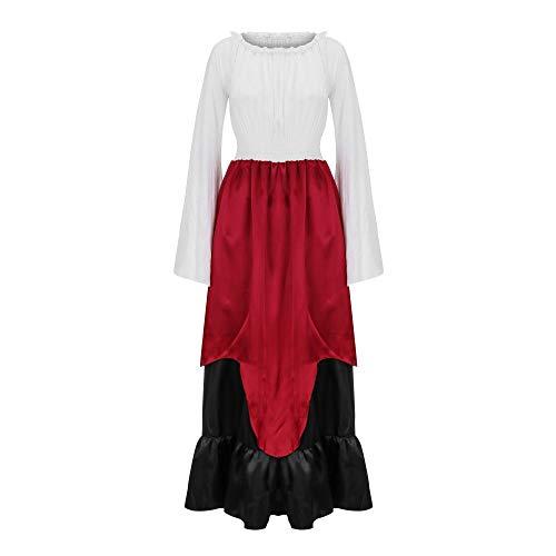 MCY Damen Kleid Vintage Mittelalterliches Kostüm Ärmel Renaissance-Kleid Viktorianisches Gothic Kleid Nachthemd Damen Mittelalter Renaissance Kostüm