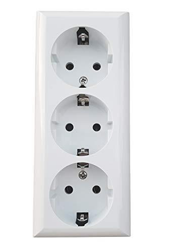 Regleta de 4 enchufes, 3 enchufes, 2 enchufes, 1 enchufe, montaje en superficie, sin cable (3 enchufes)