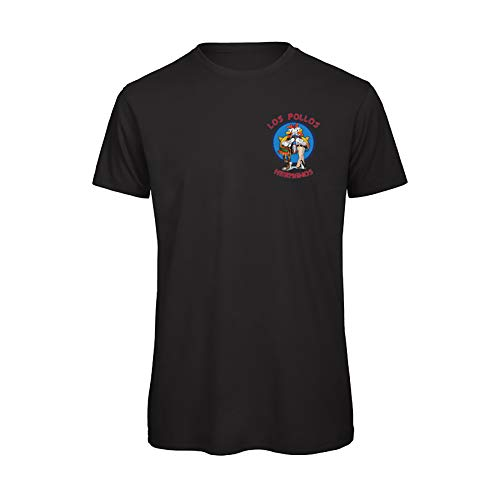 Boostit T-Shirt Los Pollos Hermanos con Logo | Serie Breaking Bad e Better Call Saul | per Uomo | Maniche Corte |100% Cotone Organico (XL, Nero)