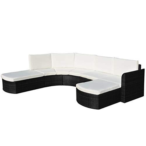 FAMIROSA Set de Muebles de jardín 4 pzas y Cojines ratán sintético Negro (51,8kg)