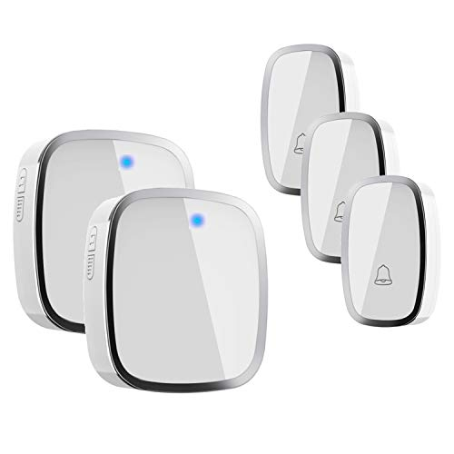 Campanello Senza Fili,IPSmart Campanello Wireless Impermeabile Funzionamento 900ft Gamma 3Trasmettitore 2 Plug-in Ricevitore