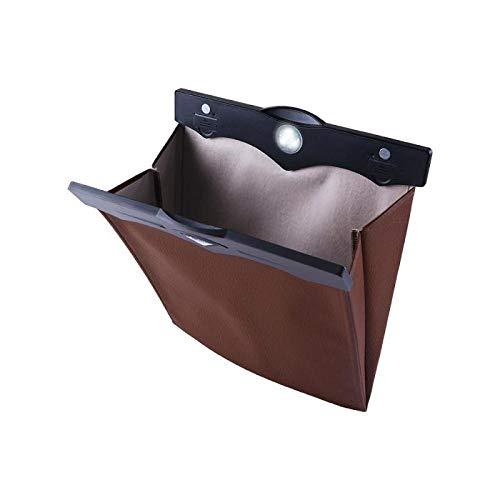 YGDH PU De Cuero del Coche Plegable Cubo De Basura, Bolsa De Almacenamiento Multifuncional, Impermeable Acolchado Cocina del Hogar De La Papelera, Coche Portátil Mini Basurero (Color : Brown)