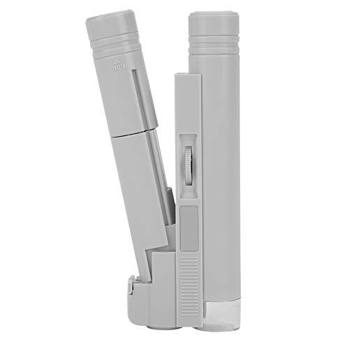 100X LED Verlichte Microscoop Vergrootglas Handheld Dubbele Buis Vergrootglas Pocket Loupe met Lederen Tas voor Sieraden Antieke Biologische Cel Virus Bug afdrukken Professionele en Hobby