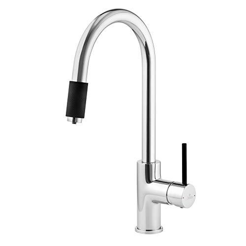 Aster Grifo de tres vías cromado/negro, caño C, grifo de diseño de tres vías para filtro de agua, grifo de cocina para filtro de ósmosis, grifo doble para grifo de agua potable