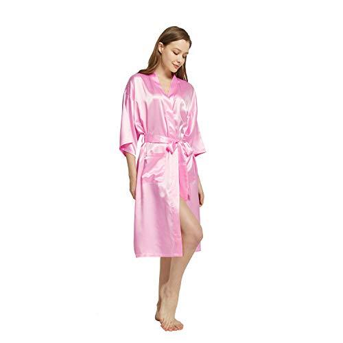 Westkun Kimono Japones Mujer Albornoz Vestido de Satén Novia Suave Cómodo Sedoso y Agradable Pijamas Largo Sexy Elegante de Seda Bata Camisón Robe Lencería Cardigan(Rosa,M)