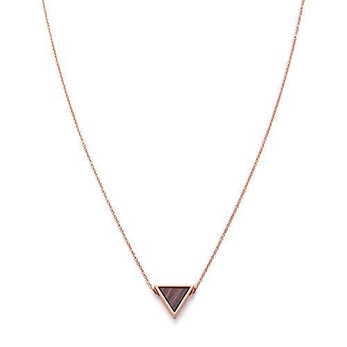 KERBHOLZ Holzschmuck – Geometrics Collection Triangle Necklace Damen Halskette mit Dreieck Anhänger, Schmuck aus Naturholz, roségold, größenverstellbar (Kettelänge 38 + 5 cm)