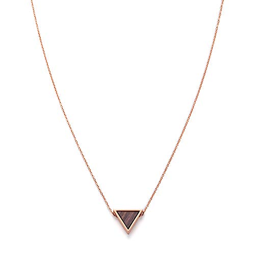 KERBHOLZ Holzschmuck – Geometrics Collection Triangle Necklace Damen Halskette mit Anhänger aus Naturholz, roségold, größenverstellbar (Kettelänge 38 + 5 cm)
