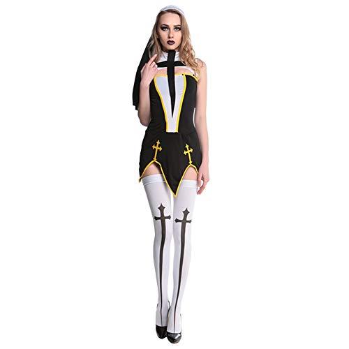 GSYClbf - Costume da Suora Sexy e alla Moda, da Donna, con Croce Divisa, per Giochi di Ruolo e Cosplay Nero