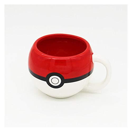 Sdvklly Forma de Bola Copa de cerámica Pokemon Taza de café Taza Taza Roja Taza de Ojos Blancos (Capacity : 301 400ml, Color : 69 KL1)