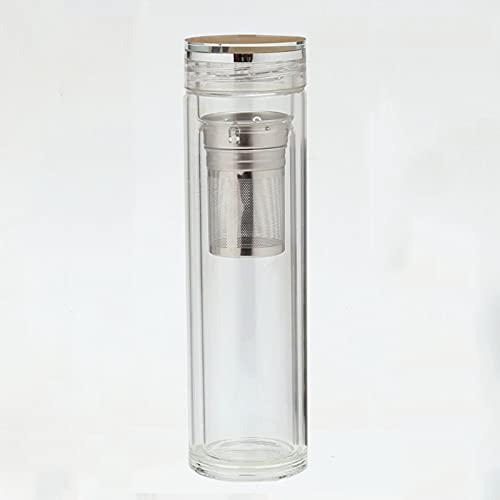 Unbne Taza de Agua Taza de té de Vidrio de Doble Capa Botella de Vidrio de Doble Pared Taza de Viaje con Filtro Se Utiliza para Regalos de Viajes de Negocios Montañismo Oficina Coche Fitness,420ML