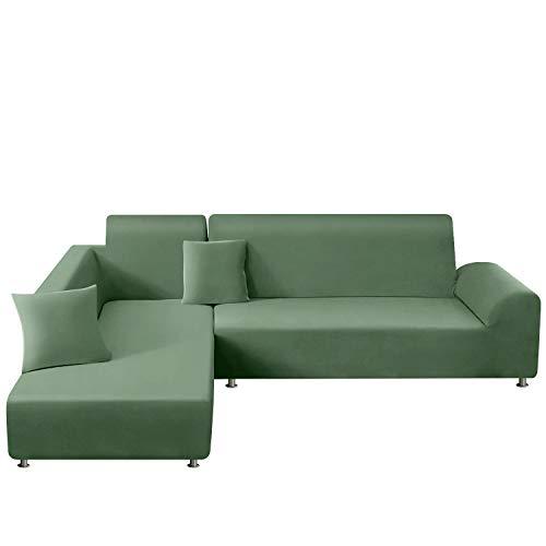 TAOCOCO Funda para sofá en Forma de L Funda elástica elástica 2 Juegos para 3 Asientos + 3 Asientos, con Funda de cojín de 2 Piezas (Verde Oliva)