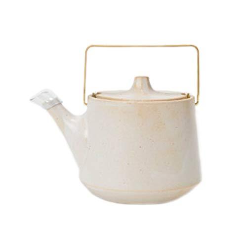 Japanische Kyusu Teekanne aus Steingut, Messinggriff, Weiß