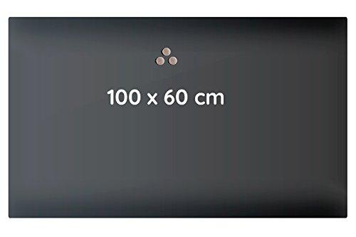 Lüllmann Memoboard Glas Magnettafel 100x60x4 cm Glastafel Glasboard Whiteboard Wandtafel Magnet-Board (607431 Glastafel 100x60x4 cm, schwarz)